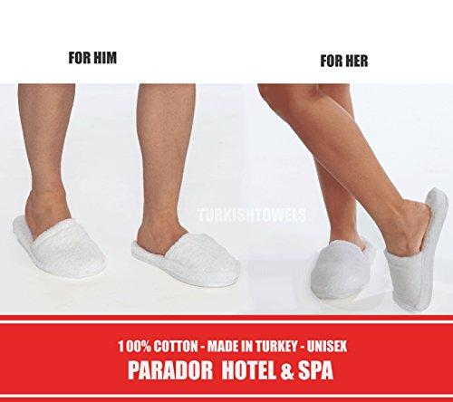 Turkishtowels Luxury 100% Cotton Terry SPA Slippers in White - Medium White rIyTXE3ICl