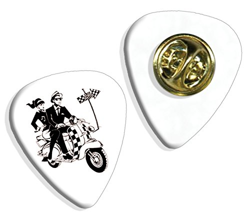 Ska Scooter 2 Tone Guitar Pick Badge - Tone Brooch Butterfly Two