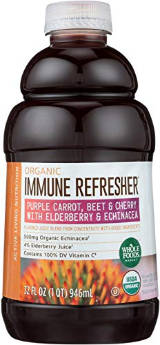 (Whole Foods Market, Organic Immune Refresher, Flavored Juice Blend from Concentrate, Purple Carrot, Beet & Cherry with Elderberry & Echinacea, 32 fl oz)