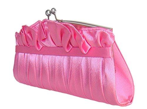 Satin Abendtasche Clutch-Tasche,,28x12 cm,Rosa