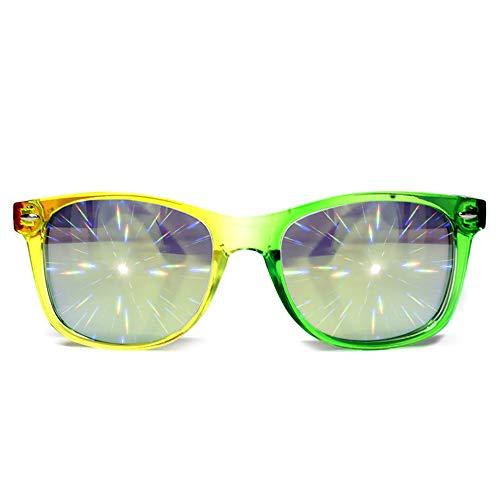 GloFX Transparent Rainbow Diffraction Glasses - Gold Mirror - Rave Rainbow EDM Diffraction