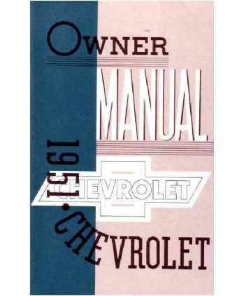 1951 CHEVROLET Full Line Owners Manual User - Full Line Chevrolet