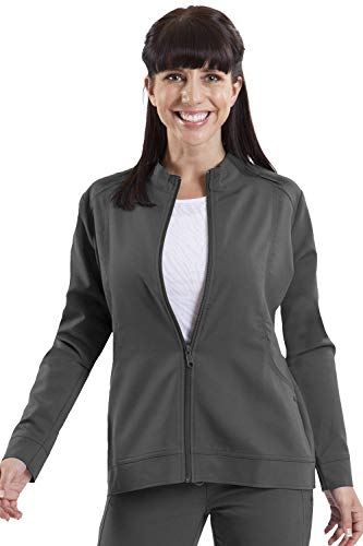healing hands Purple Label Women's Dakota 5038 Zip Up Scrub Jacket Scrubs- Pewter- XL