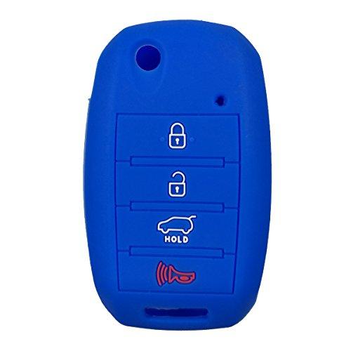 Coolbestda Silicone 4button Flip Folding Key Fob Cover Keyless Remote Case Holder Protector Holder for Kia Sorento Sportage Rio Soul Forte Optima Carens Blue (Not Fit Smart Key Fob)