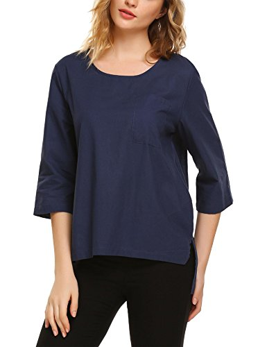 Women's 3/4 Sleeve Cotton Linen Casual Loose Shirts Tops Blouses