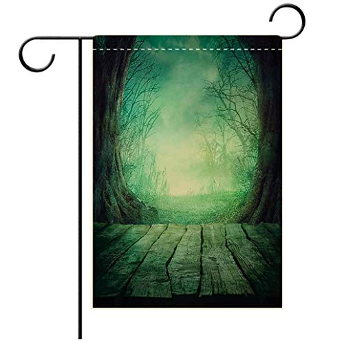 Polyester and linen Garden Flag Outdoor Flag House Flag BannerGothic Spooky Scary Dark Fog Forest with Dead Trees and Wooden Table Halloween Horror Theme Pridecorated for outdoor holiday gardens