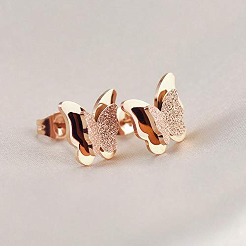 Bobioy 1Pair Lady Girl Earrings Sparkling Golden Butterfly Ear Studs Jewelry Accessories Love Gift Rose Gold
