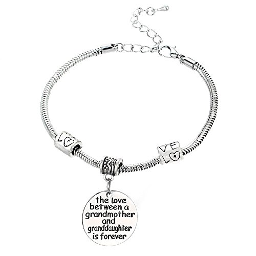 Love between a Grandmother and Granddaughter is Forever Bracelet with Custom Text - ♥Christmas Gift♥ with Exquisite Package, Great Birthday Gift