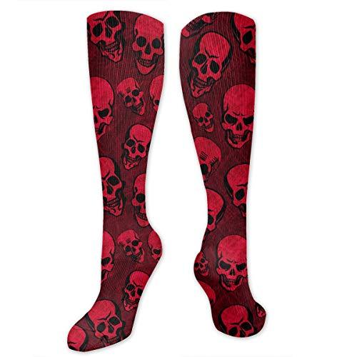 (SARA NELL Compression Socks Red Bloody Halloween Skull Skeleton Knee High Socks Sports Athletic Socks Soccer Team Tube Stockings Long Socks Funny Personalized Gift Socks for Men Women)
