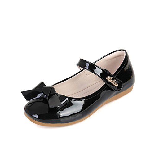 (Always Pretty Flower Ballet Flat Dress Shoes Princess Shoes (Toddler/Little Kid/Little Girls) Black 13 M)