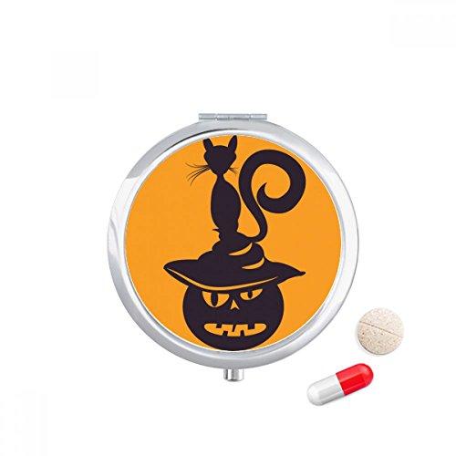 Pumpkin Monster Hat Cat Halloween Travel Pocket Pill case Medicine Drug Storage Box Dispenser Mirror ()