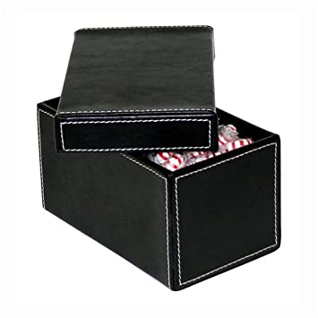 Charming Faux Leather Storage Boxes Small Black