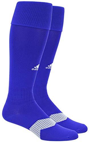 adidas Metro IV Soccer Socks (1-Pack), Bold Blue/White/Clear Grey, Large
