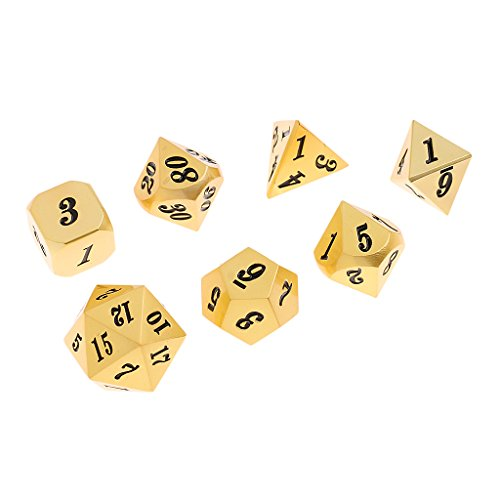 Baoblaze 7x Metal Polyhedral Dices Die Set D6-D20 for Board Games Dungeons and Dragons MTG RPG Toy Gifts #3 by Baoblaze