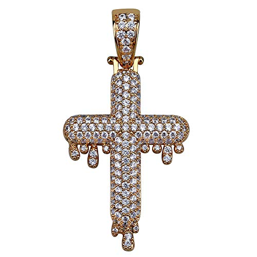 TOPGRILLZ 14K Gold&Silver Plated Iced Out CZ Lab Cubic Zirconia Lion Cross Pendant Neckace Mens Stainless Steel (Gold Drop Cross)