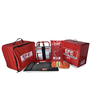Image of Home Improvements Emergency Fire Safety Escape Kit -Includes Fire Escape Ladder 2 Story, Fire Proof Bag, Fire Blanket, Heat Resistant Gloves, Portable Roll Out Window Escape, Must Have Accessory Kit for Survival
