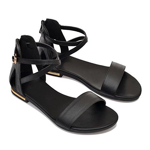 AalarDom Mujer Cremallera Puntera Abierta Mini Tacón Pu Sólido Sandalias de vestir Negro-SHI