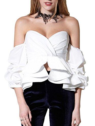 Simplee Apparel Women's Sexy Summer Casual Short Sleeve Ruffle Off Shoulder Blouse Strapless Peplum Top Cotton Shirt, White, 4/6, Medium (Ruffle Strapless Cotton)