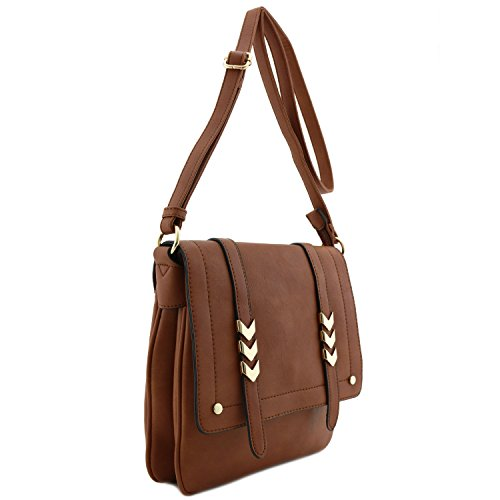 Double Compartment Large Flap Over Crossbody Bag Brown