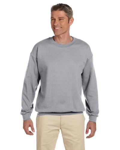 Cotton Oxford Pullover - Jerzees Adult Preshrunk Fleece Crewneck Sweatshirt, Oxford, Medium