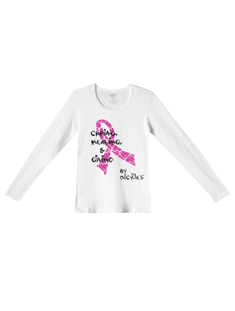 Dickies Medical Scrubs 84769B Women's Long Sleeve Crew Neck Tee Heal With Love Screen Print Large