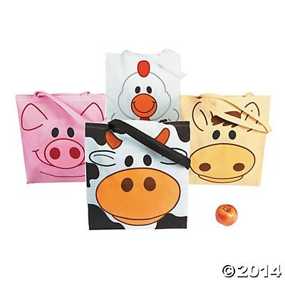Large Farm Animal Tote Bags - 12 Assorted Bags