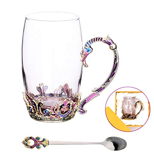 (Glass Tea Cup Coffee Mug, Hand Blown Glass Drinking Mug Made of Lead-free Glass, Vin­tage Glass Cups with Spoon Set, Birthday Decoration Wedding Gift Ideas (Purple Tall))