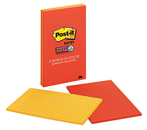 Post-it Super Sticky Notes, 5 in x 8 in, Marrakesh Collection, Lined, 4 Pads/Pack (5845-SSAN)