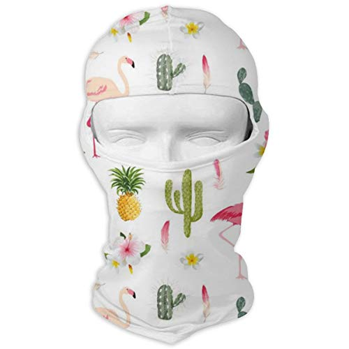- JJKYL Tropical Background Flamingo Bird Cactus Vector Image Full Face Mask Hood Sunscreen Mask Cycling Hunting Hiking Skiing Mask Dual Layer Cold for Men and Women