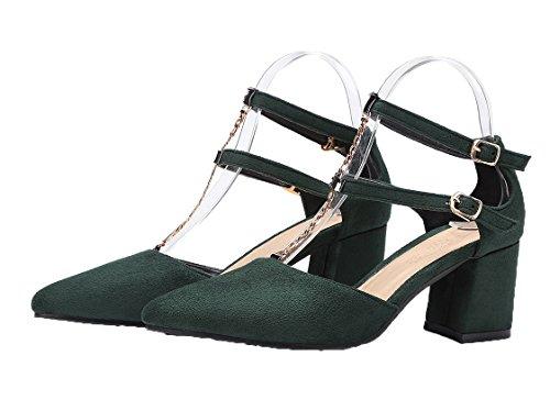 Amoonyfashion Kvinnor Spänne Spetsig Tå Kattunge-klackar Frostat Fasta Pumpar-shoes Grön
