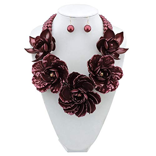 - Bocar Statement Big Pendant Pearl Flower Necklace Earrings Jewelry Set for Women (NK-10101-wine red)