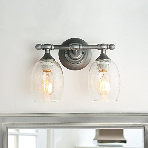 Silver Bathroom Vanity Light - LOG BARN Bathroom Vanity Wall Light with Bubble Glass Globe and Brushed-Silver Finish for Powder, Dressing Room, Bedroom, Entryway, A03353