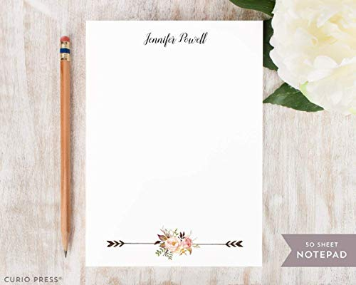 PAINTED FLORALS II NOTEPAD - Personalized Flower Stationery/Stationary 5x7 or 8x10 Note ()