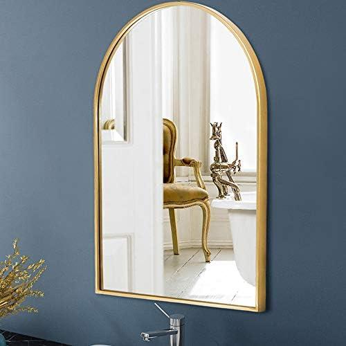 アーチ型のバスルームミラー、壁の鏡、ホテルの装飾鏡、防爆ガラス、合金フレーム、金と黒の色