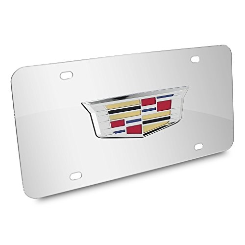 Au-Tomotive Gold, INC. Cadillac New Crest 3D Logo on Chrome Stainless Steel Metal License Plate