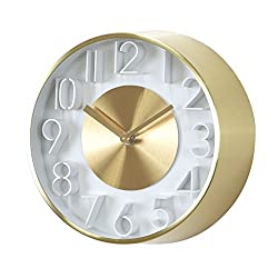 Time Concept 8 Round Sophisticated Wall Clock - Gold - Metal Steel Frame, 1 x AA Battery Operated