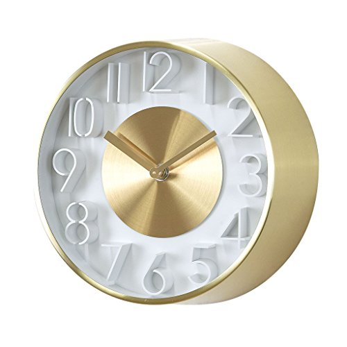 """Time Concept 8"""" Round Sophisticated Wall Clock - Gold - Metal Steel Frame, Analog Time Display, Home Décor"""