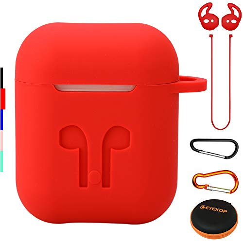 EYEKOP AirPods Case 6 in 1 AirPods Accessories Set with Keychain, AirPods Ear Hooks, Anti-Lost AirPods Strap, and Carrying Case - Red