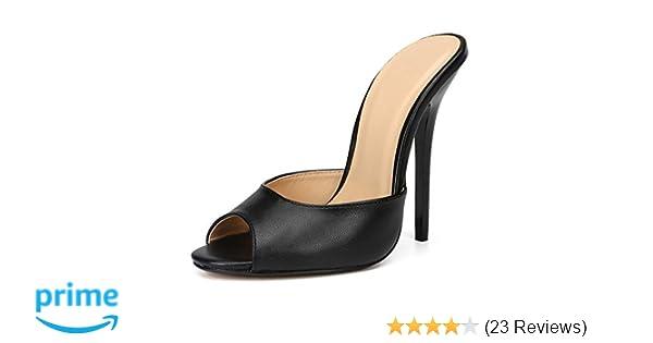 3f68eb59d4b4f fereshte Women's Men's Peep-Toe Mules Slide Stiletto Heeled Sandals