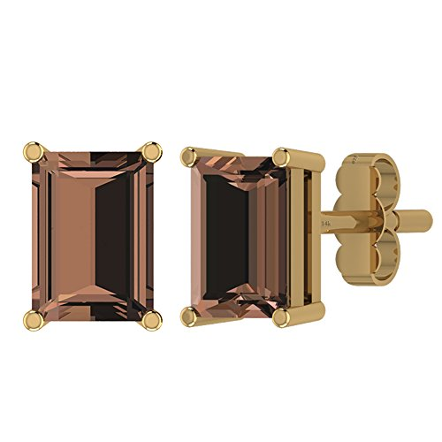 (1.90ctw,Genuine Smoky Quartz 14K Gold Post & Solid 925 Sterling Silver Stud Earrings)