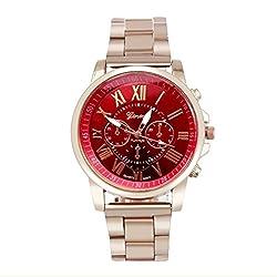 Wristwatch,Han Shi Unisex Roman Number Stainless Steel Quartz Sports Dial Watch Clock (A, Red)