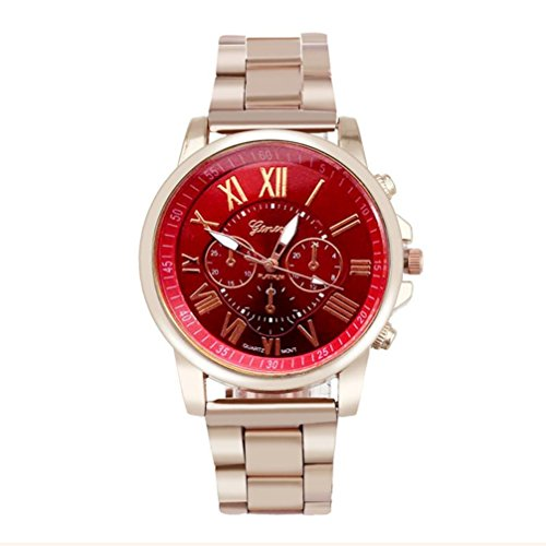 Han Shi Wristwatch, Unisex Roman Number Stainless Steel Quartz Sports Dial Watch Clock (A, Red)