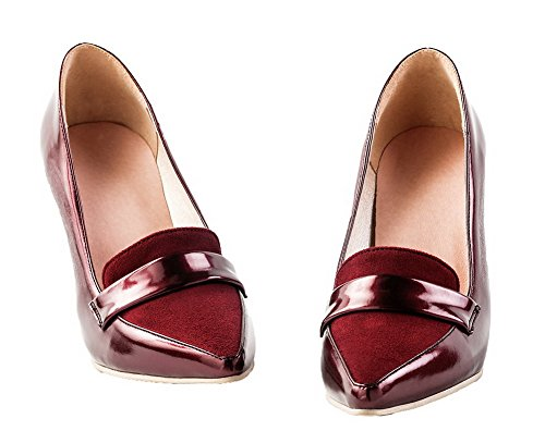 AmoonyFashion Womens Pointed-Toe High-Heels Pull-On PU Solid Pumps-Shoes Claret cQRLm81Dw