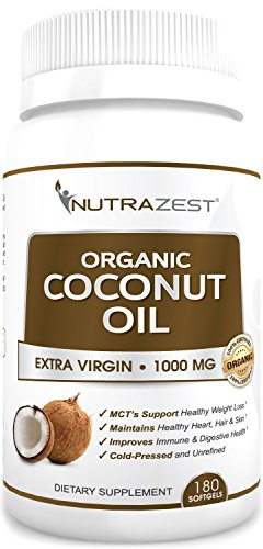 Nutrazest Strikingly Virgin Organic Coconut Oil Capsules - 1000mg with MCTs to Promote Healthy Weight Denial, Boost Digestion, Natural Immunity & Hair, Skin, Nails Health - 100% Cold Pressed 180 Softgels