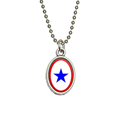 Blue Star Flag - One 1 War Mother Service Antiqued Oval Charm Pendant with Chain