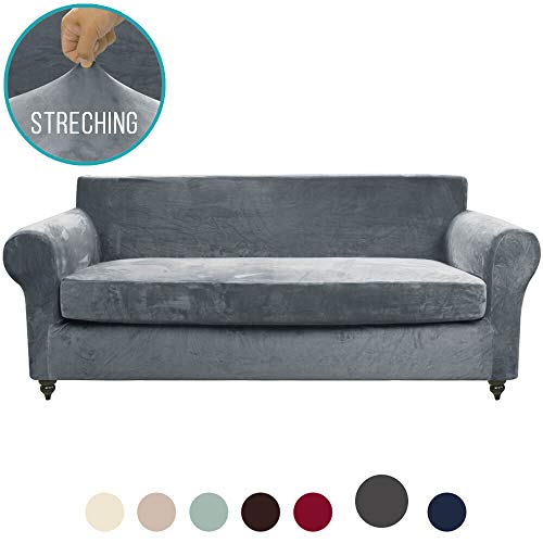 MOYMO 2-Piece Stretch Velvet Couch Cover, High Stretch Couch Slipcovers for 3 Cushion Couch, Couch Covers for Sofa, Living Room, Dogs, Sofa/Couch Slipcover(Sofa:Grey) (Couch Covers Slipcovers With Cushion)