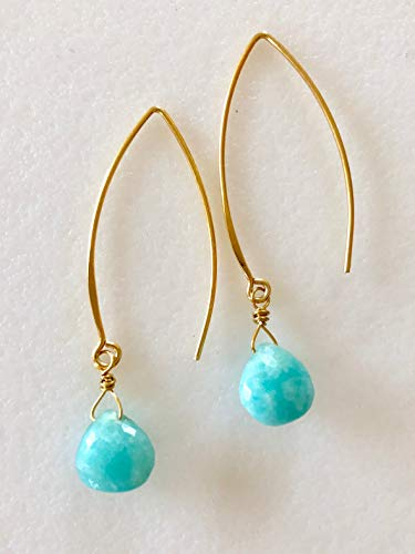 - Amazonite Aqua Blue Earrings, Heart Briolette Earrings, Microfaceted Natural Amazonite, Bridal Jewelry, 24K Gold Vermeil, Sterling Silver.