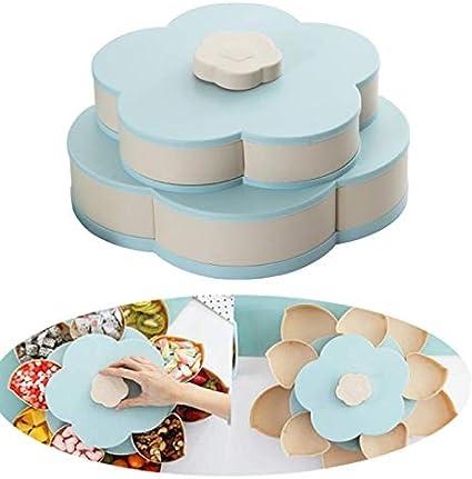 Rotación de la caja de caramelo, antideslizante forma de la flor Snack-Organizador con capas dobles, nueces semillas y frutos secos de almacenamiento para el hogar fiesta,Azul