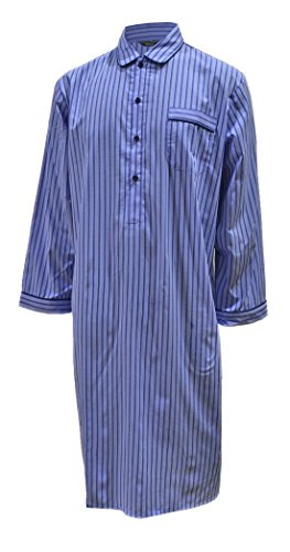 Gestreiftes Nachthemd aus reiner Baumwolle, Blau - Herren