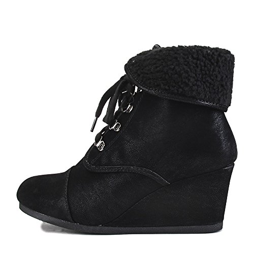 Fur Wedges (Shiekh Women's Fur Wedge Ankle Boot Nast-S Boot - Black Size 8.5)